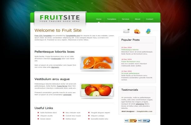 Free Colorful Black Fruits CSS Website Template