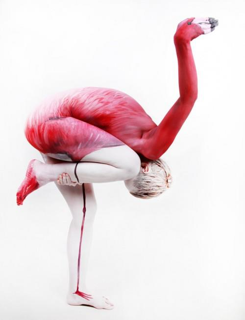 Gesine Marwedel Flamingo illusion body paint