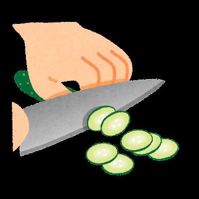 薄切りのイラスト(野菜の切り方)