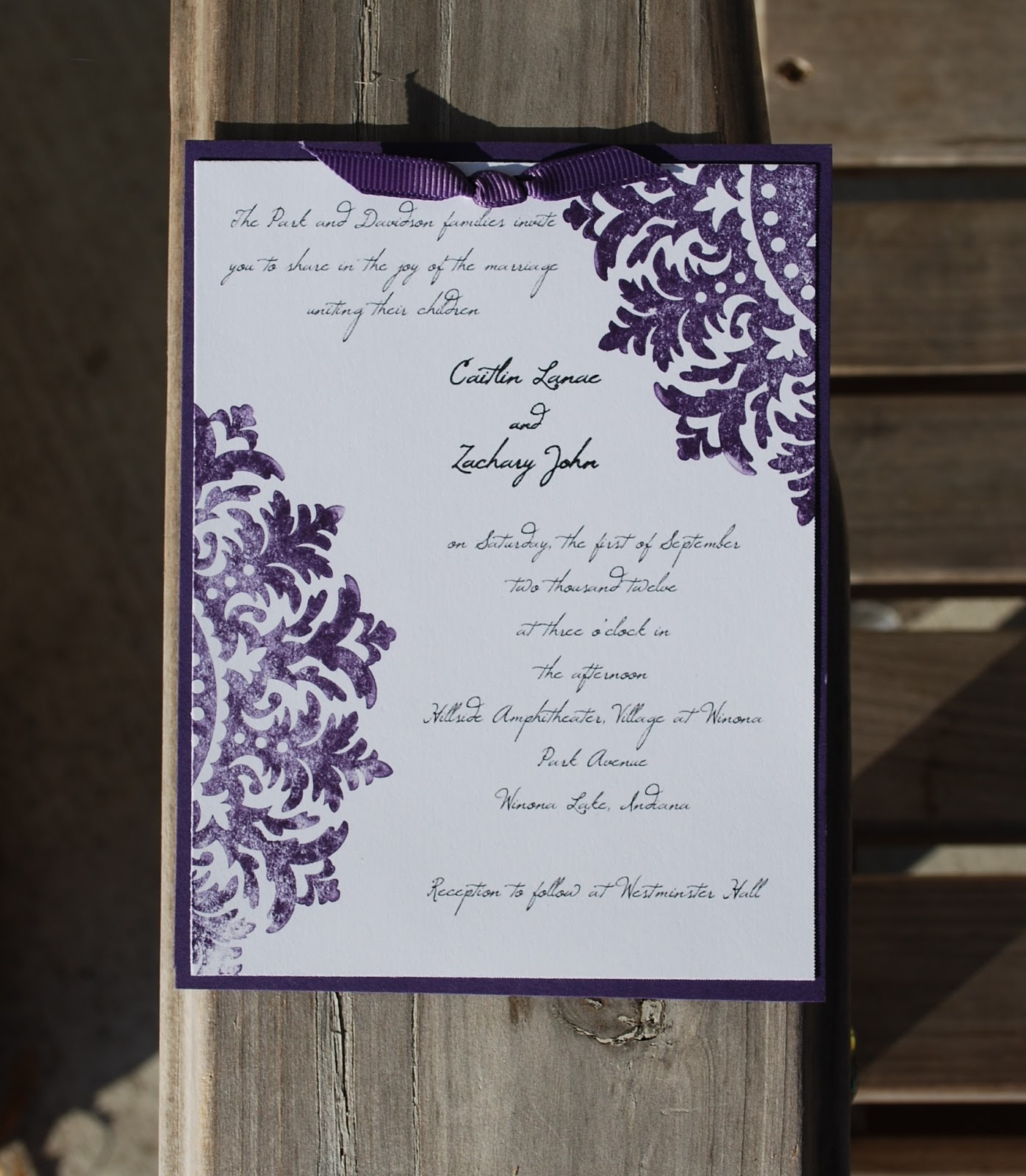 The Medallion Images Were Stamped In Elegant Eggplant And We Printed Invitation Info