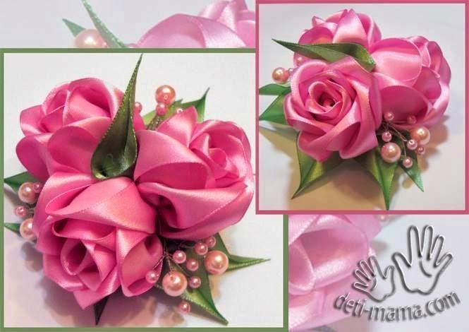 Розы объемные из атласных лент