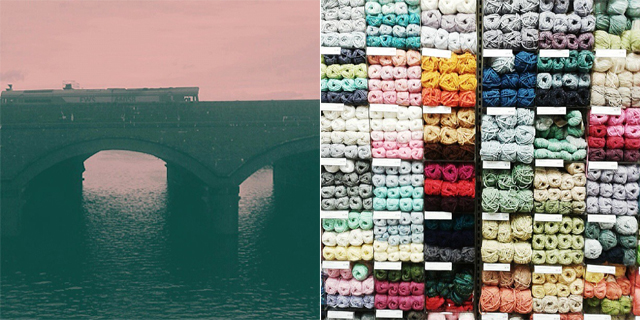 bridge on river taff, wall of wool in john lewis