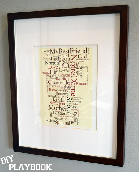 Wordle Word Collage in Pottery Barn Frame