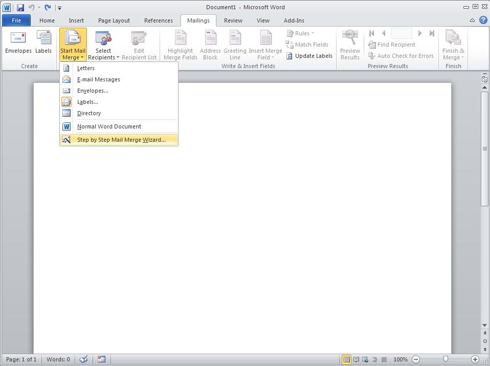 how to create labels in word 2010 using mail merge
