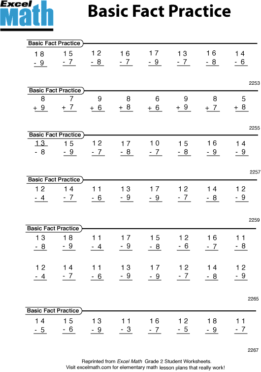 Excel Math Back to Math Basics – Basic Math Skills Worksheet