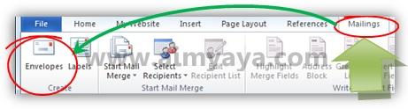 Gambar: Membuat amplop (envelope) di microsoft word 2010