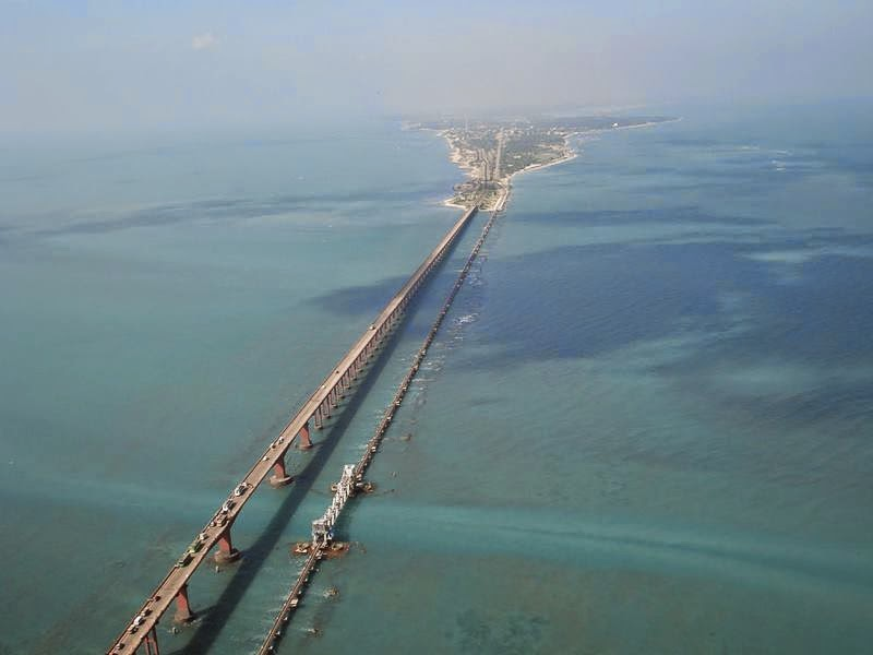 The Pamban Bridge is a cantilever bridge on the Palk Strait which connects the town of Rameswaram on Pamban Island to mainland India.