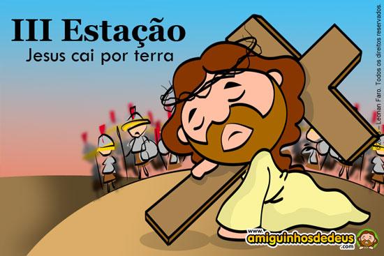 Via Sacra desenho - Jesus cai por terra