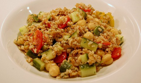 Cucumber Salad with Chickpea and Bulgur Wheat
