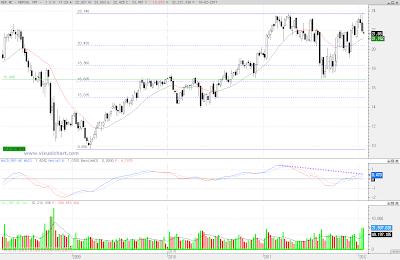 Análisis técnico de Repsol en gráfico semanal del 20 de enero de 2011