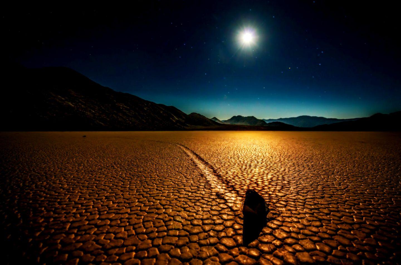 Rock in the Night Desert Valley HD Desktop Wallpaper  HD Desktop