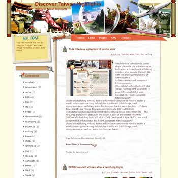 Discover Taiwan Highlights Blogger Template. free download template blogspot