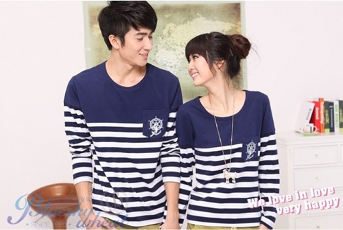 Jual Kaos Wheat Navy PCS Couple Online Murah di Jakarta Lengan Panjang Trendy