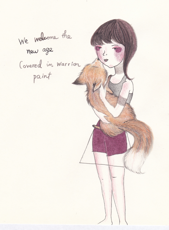 Fox and girl drawing