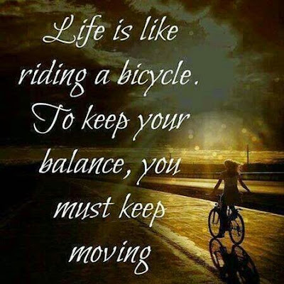 """Life is like riding a bicycle. To keep your balance, you must keep moving."" ~ Unknown; Picture of someone riding a bike on a road."