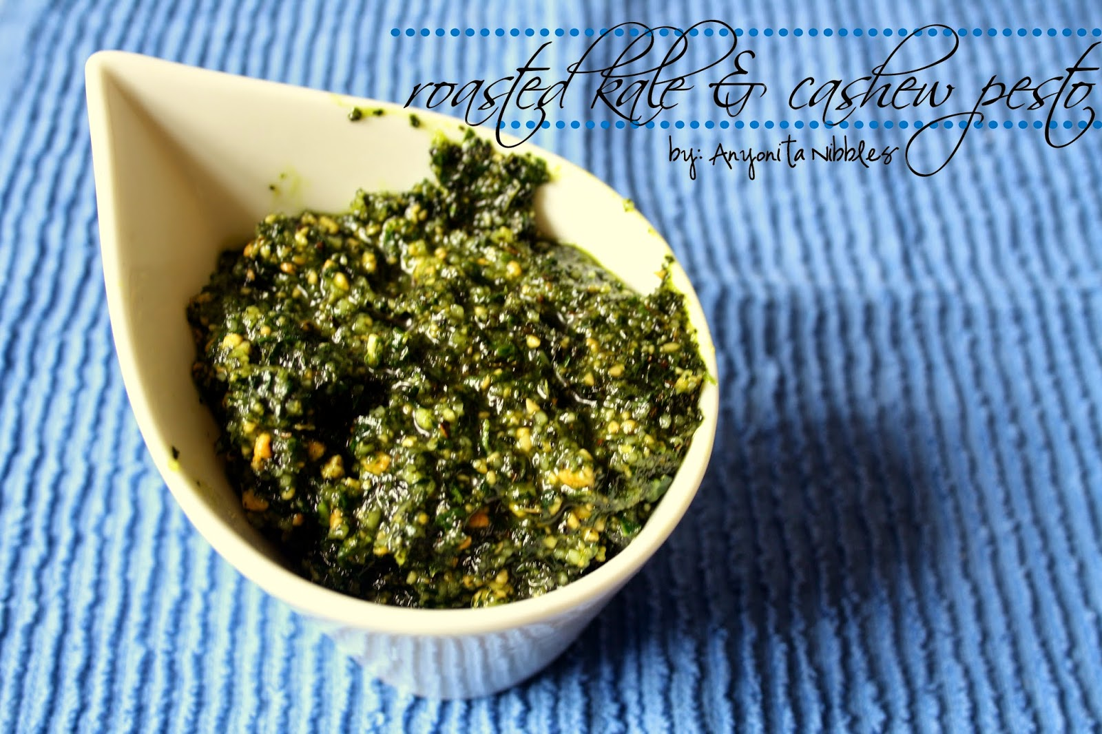 Using oven roasted kale and salted cashews, this quick pesto is made in the food processor.