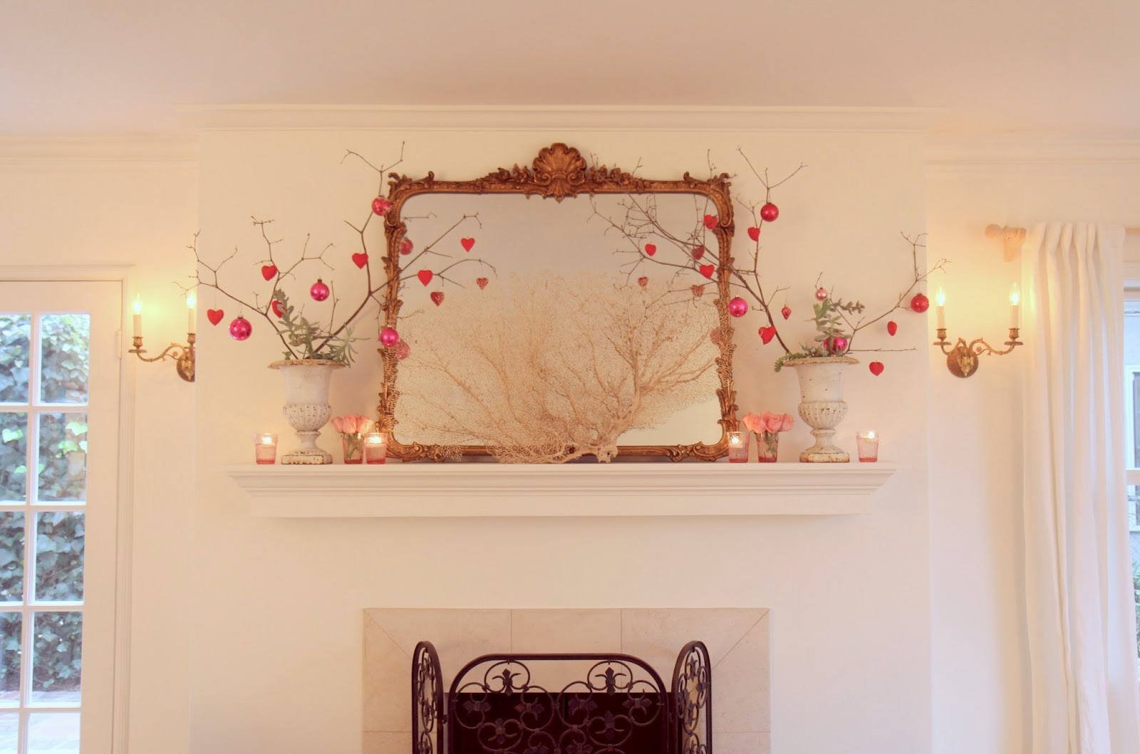 Valentine's Day Decor; Living Room Mantle