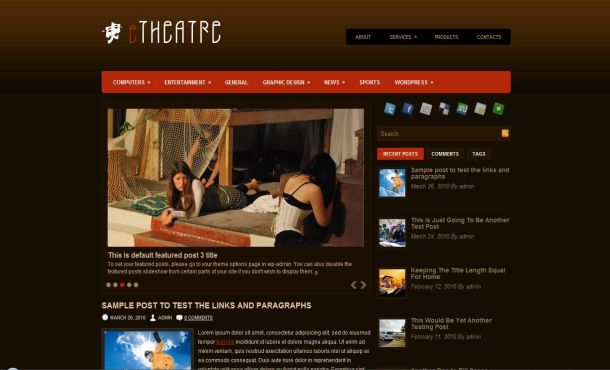 Theatre Art Jquery Brown Free Wordpress Theme Template - Free ...