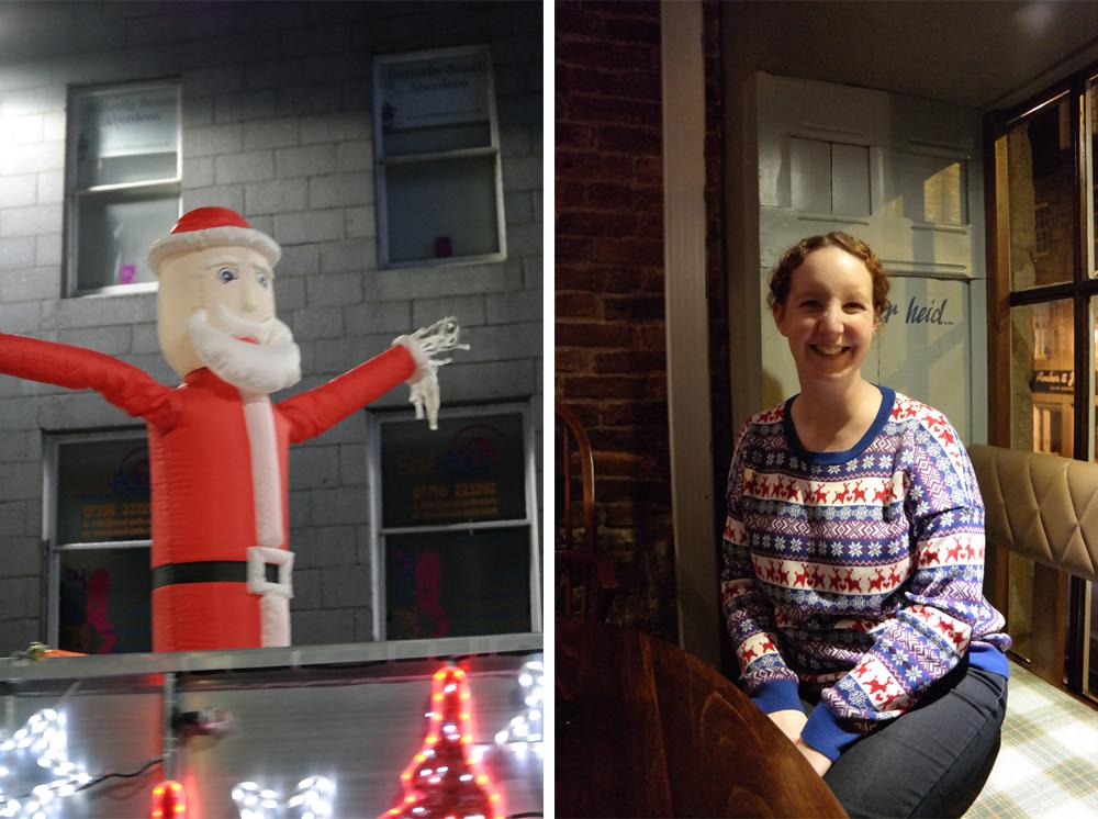 Inflatable Santa and Sarah in Christmas jumper