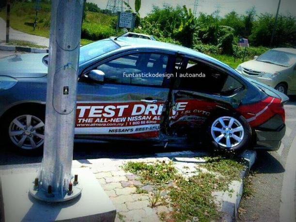 Nissan Almera Test Drive Kemalangan