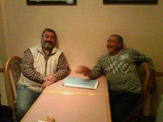 Américo Bordón con un Docente Jubilado