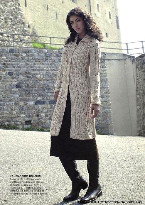 узоры для вязания спицами пальто.