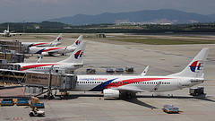 Malaysia Airlines aircraft on the ramp