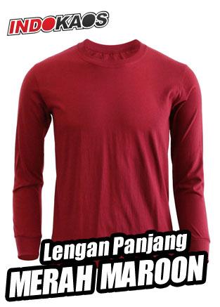 Kaos Polos Lengan Panjang Merah Maroon