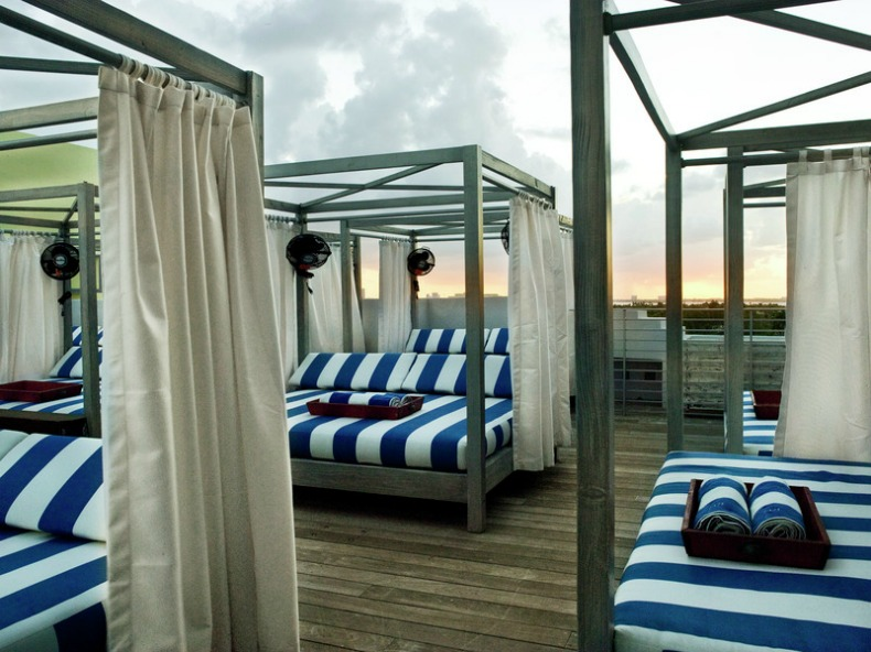 Lounge beds on the 8th floor of the Soho Beach House