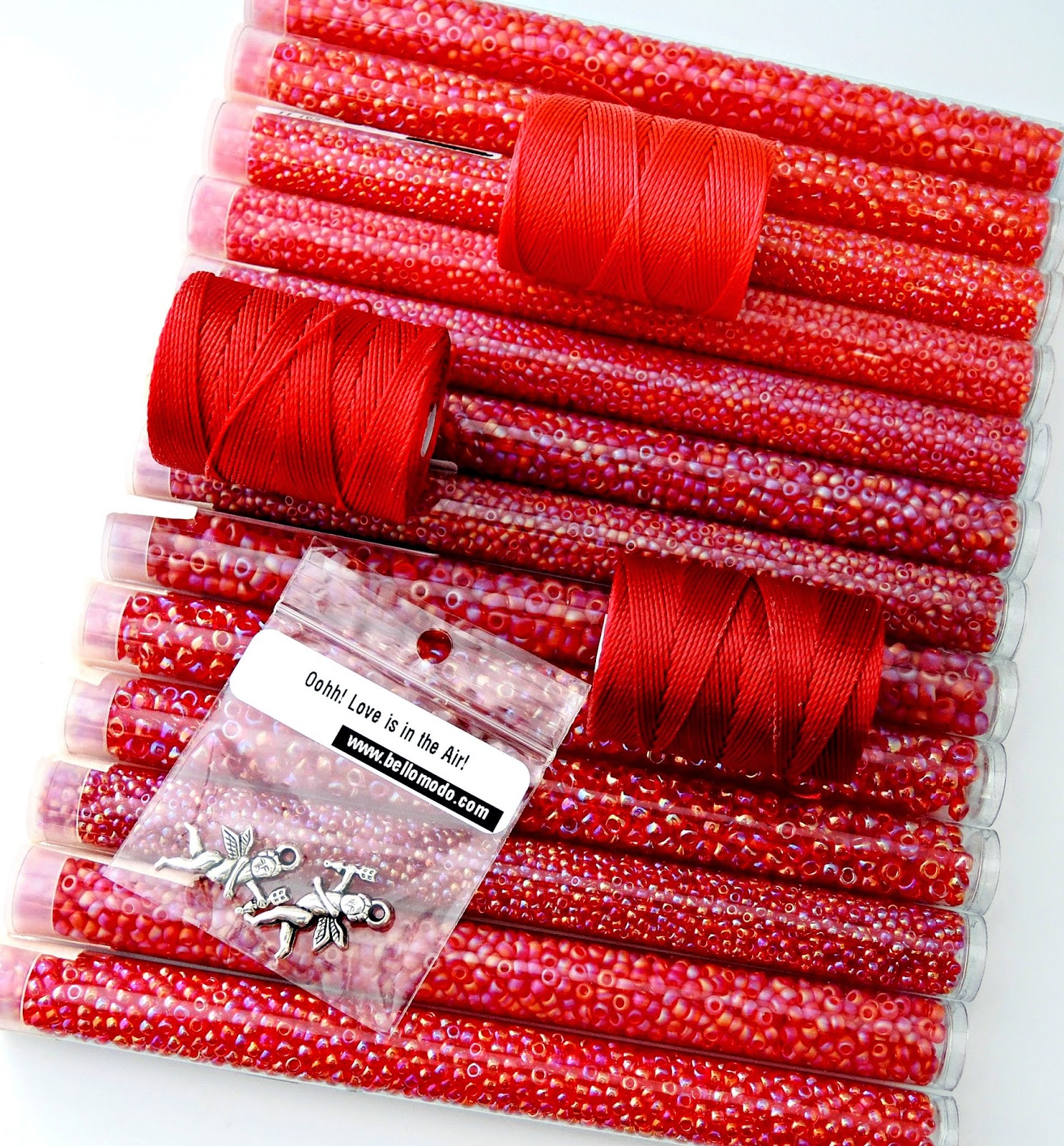 Red seed beads and nylon bead cord.