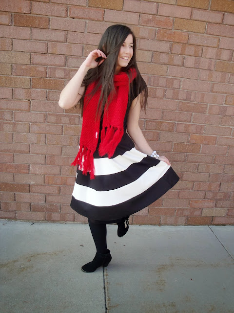 flare skirt, fit and flare, fit and flare skirt, black and white flare skirt, black and white, boots, ankle booties, ankle boots, booties, downeast basics, downeastbasics, downeast, red scarf, frills,