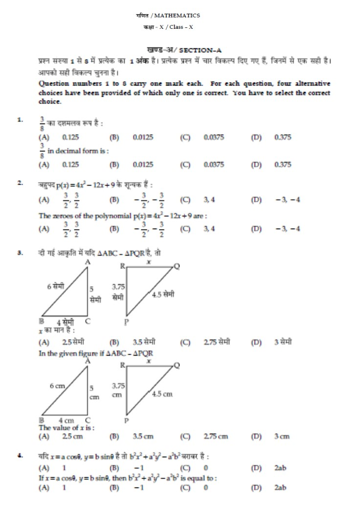 Question Bank: 10th Maths Practice Paper SA1