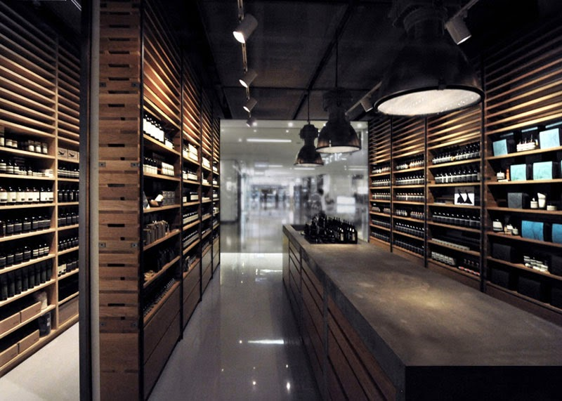 interiorismo y packaging de la casa Aesop