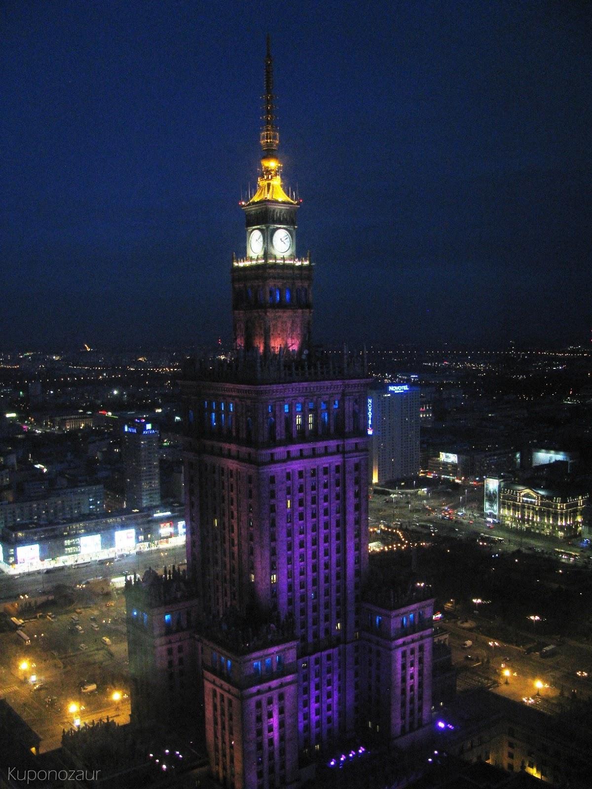 InterContinental Warszawa pałac kultury w nocy