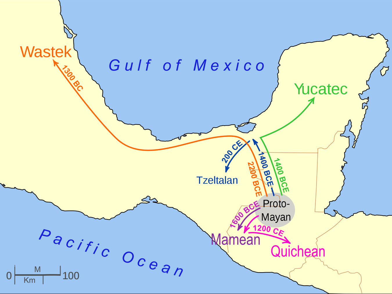mayan language migrations out from the linguistic core