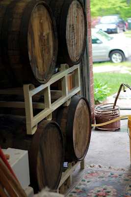 Dave and Becky's four barrel, all re-coopered bourbon barrels.
