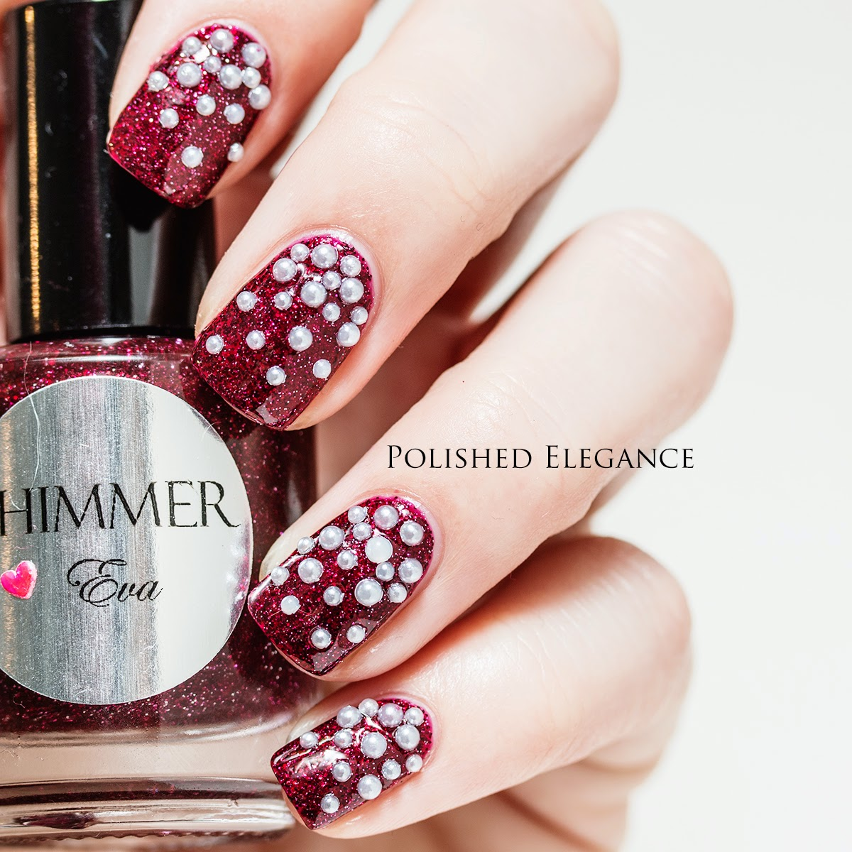 Pearl studs from Bundle Monster, red and white christmas manicure Shimmer Polish - Eva
