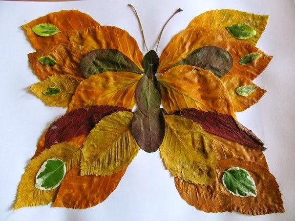 Фото поделки из листьев
