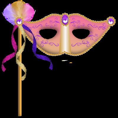 Máscara Carnaval PNG - Brilhantes e plumas rosa