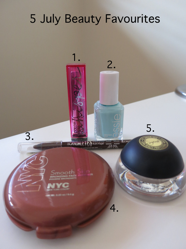 July monthly favourites, July monthly favorites, Maybelline color whisper, essie, rimmel scandaleyes, NYC sunny, Sigma Persuade