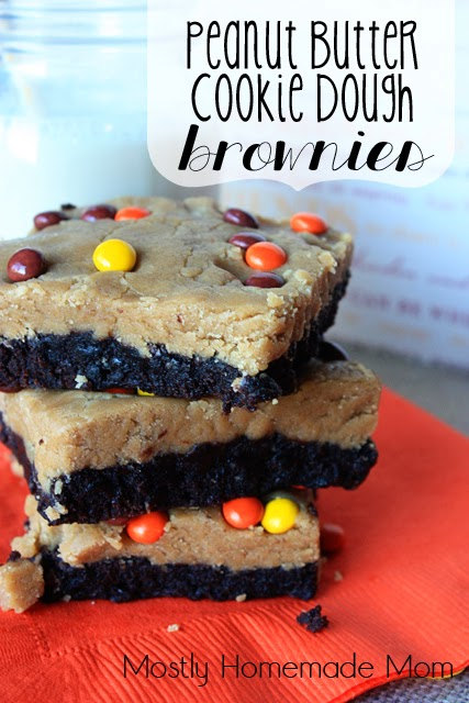 Peanut Butter Cookie Dough Brownies | Mostly Homemade Mom