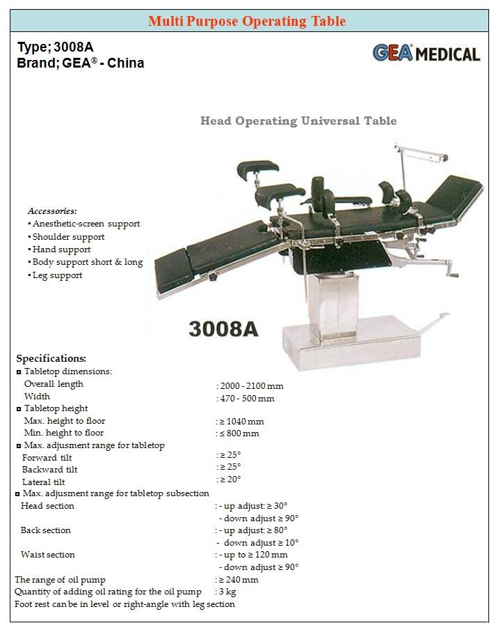 MEJA OPERASI MANUAL GEA 3008A