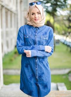 Model busana muslim modis bahan jeans casual terbaru