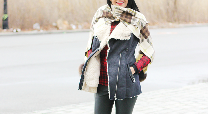 Burberry Plaid Scarf, Plaid Blanket Scarf, Zara Fur Vest, Zara Shearling Vest
