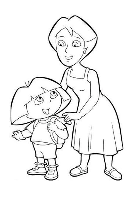صورة طفل مع أمه تنصحه مفرغة لتلوين الاطفال