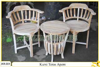 Kursi Teras Depan Rumah Ukiran Apem kayu jati