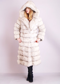 Vintage 1960's ivory colored fox fur maxi bubble coat with hood