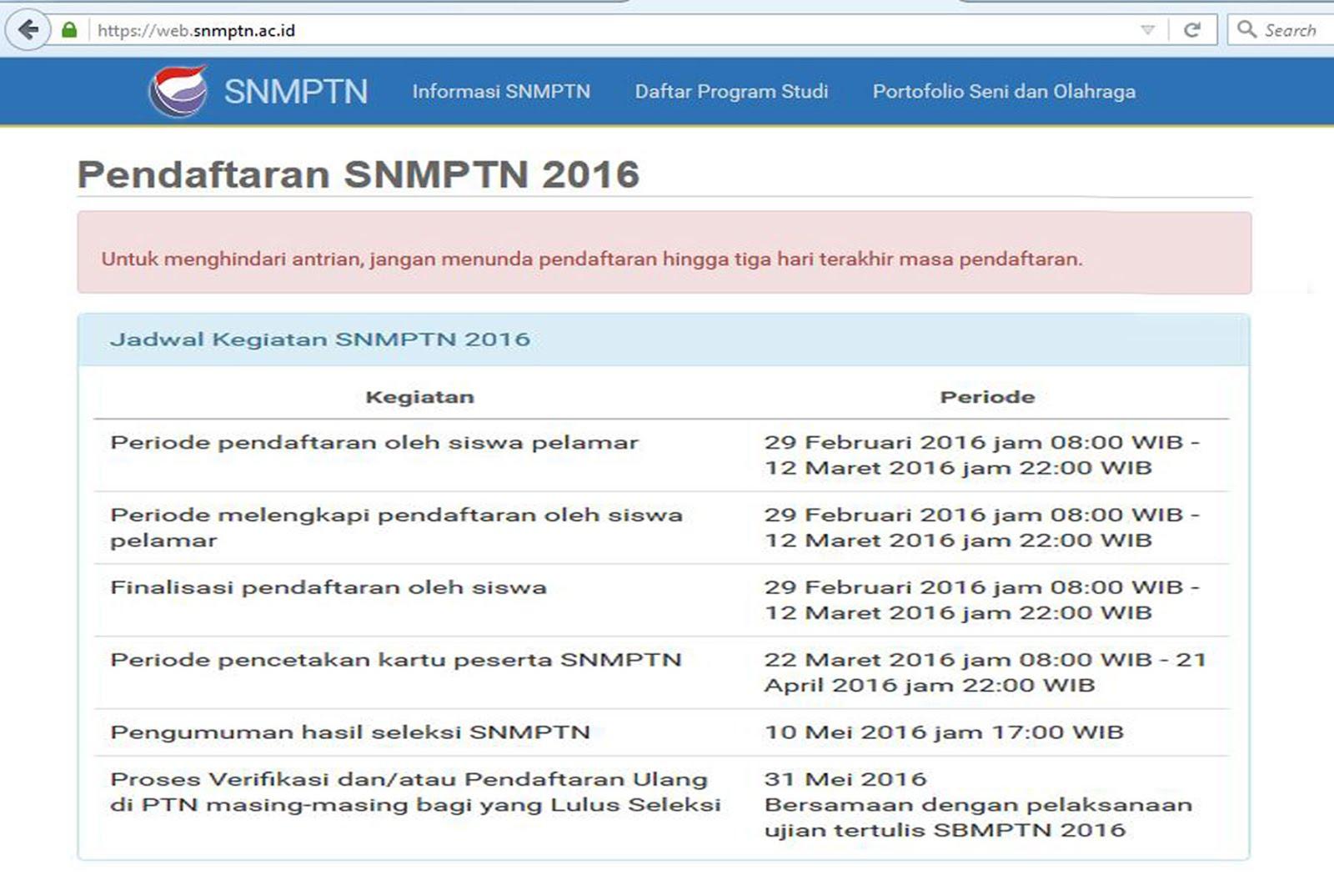 PENDAFTARAN SNMPTN 2016