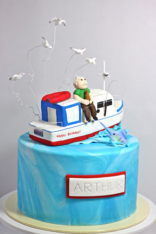 Sweet Art Cakes by Milbre Moments 60th Launch Fishing Boat Cake