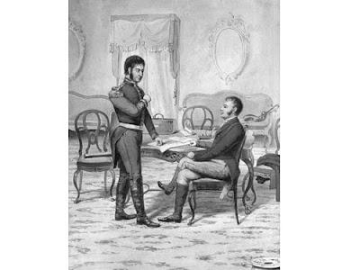 'Entrevista de San Martín y Pueyrredón en Córdoba, 1816' (1926) Boceto en tinta china de M. Rosso.Tomado de www.sanmartinianostdf.org.ar